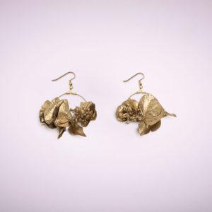 boucles d'oreille en fleurs doré