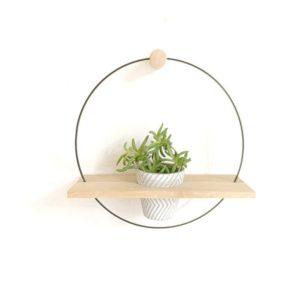 porte plante murale avec pot en bois de chene