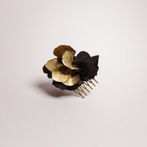 peigne barrette à cheveux noir et doré